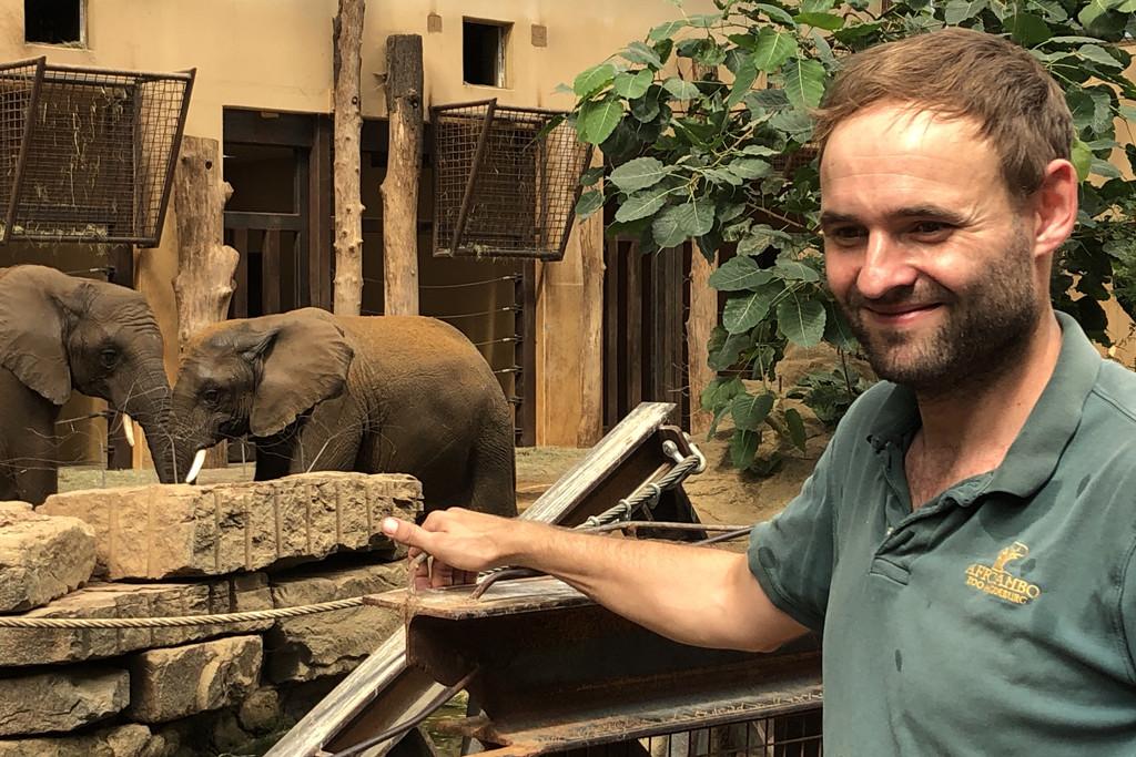 Stefan Gluch pflegt die Afrikanischen Elefanten_Zoo Magdeburg